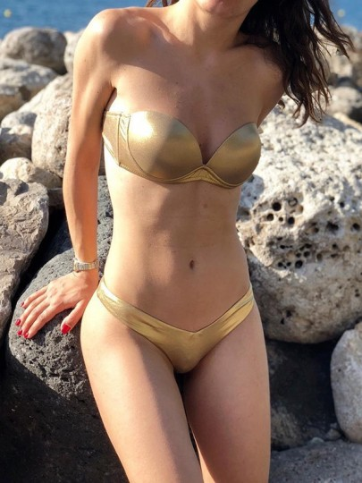 Golden 2-in-1 Crop Tie Back V-neck Fashion Swimwear