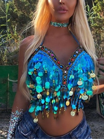 Blue Colorful Rhinestone Tie Back Halter Neck Sparkly Novelty Party Vest