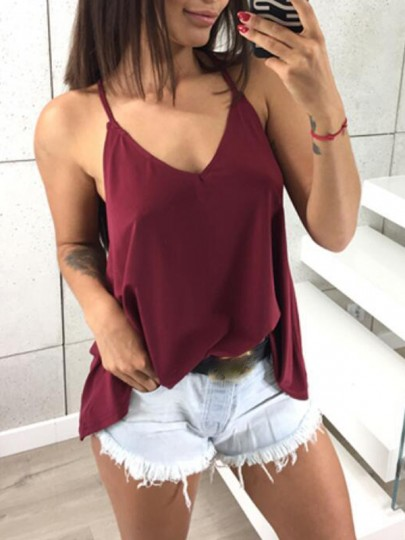 Burgundy Spaghetti Strap Backless V-neck Vest