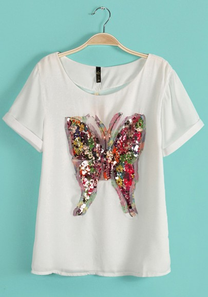 White butterfly sequin collarless short sleeve chiffon t for Collarless short sleeve dress shirt