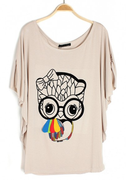 Grey Owl Print Bat Sleeve Cotton T-Shirt