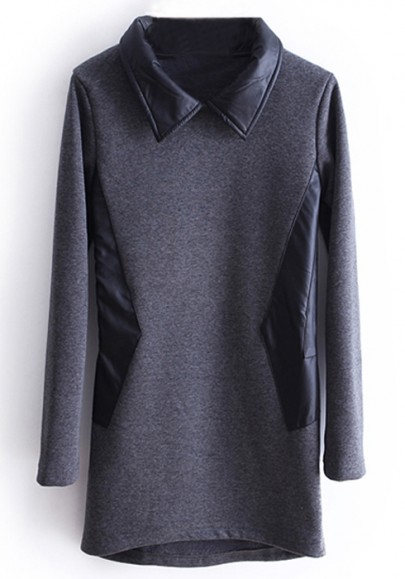 Dark gray pu patchwork lapel thick cotton t shirt t for Thick white cotton t shirt