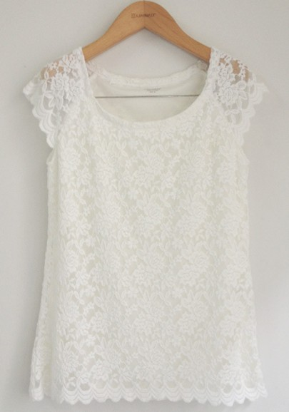 White lace floral collarless short sleeve lace t shirt t for Collarless short sleeve dress shirt