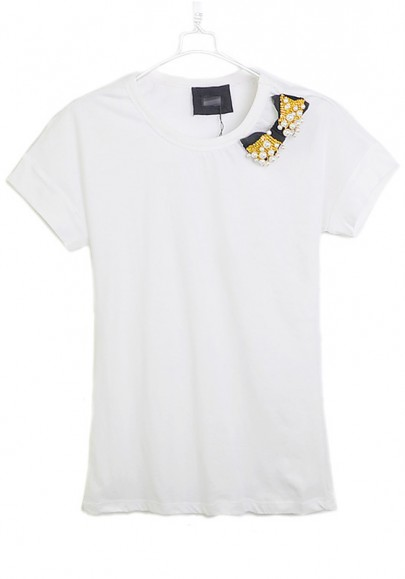 White bow pearl collarless short sleeve cotton t shirt t for Collarless short sleeve dress shirt