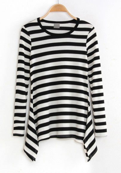 Multicolor striped print long sleeve cotton blend t shirt Striped long sleeve t shirt