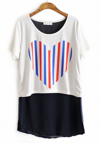 White Color Block Heart Print Collarless Cotton T-shirt