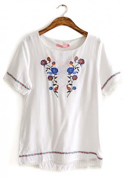 White floral embroidery round neck cotton t shirt