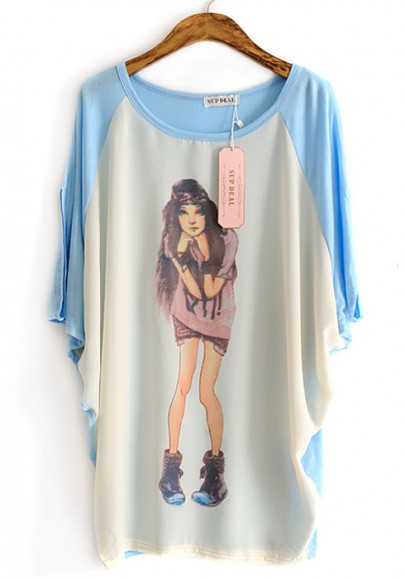 Blue Color Block Girl Print Loose Cotton T-shirt