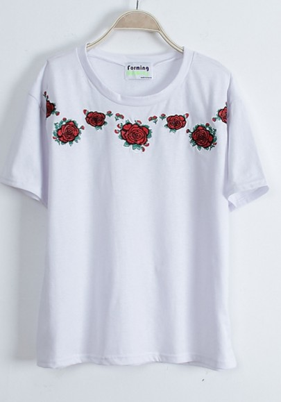 white floral embroidery short sleeve cotton blend t shirt. Black Bedroom Furniture Sets. Home Design Ideas