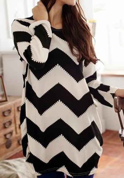 Black White Wave Striped Print T-Shirt