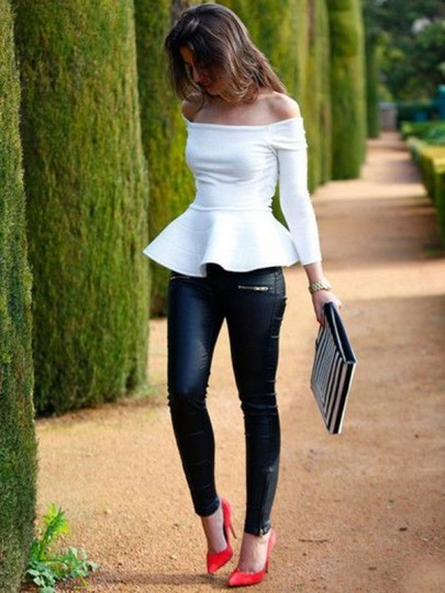 White Plain Ruffle Off Shoulder Neckline Peplum Long Sleeve Casual Elegant T-Shirt Top