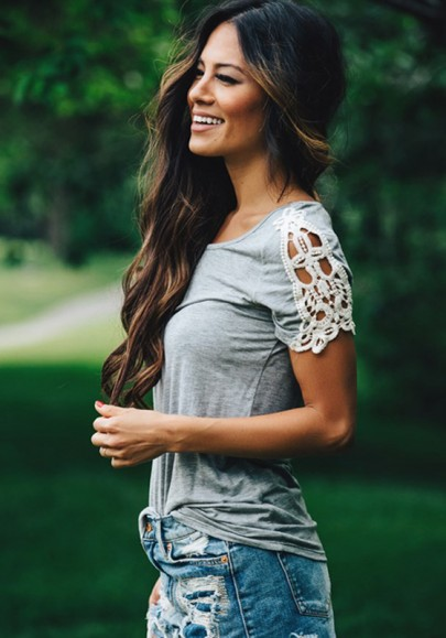 Camiseta llano crochet encaje cuello redondo manga corta la manera delgada gris