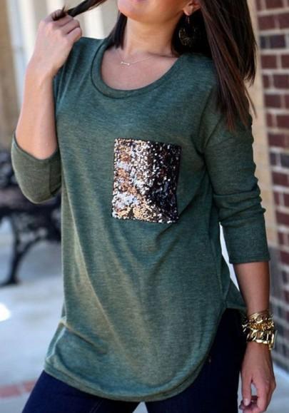Dark Green Patchwork Pockets Sequin Fashion T-Shirt
