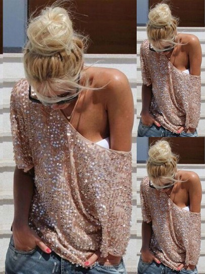 Silver Pink Plain Sequin Elbow Sleeve Round Neck Fashion T-Shirt