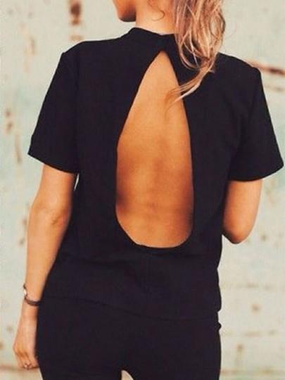 Camiseta llano cortado cuello redondo manga corta negro