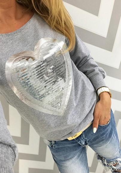 T-shirt paillette col rond décontracté le pur coton gris