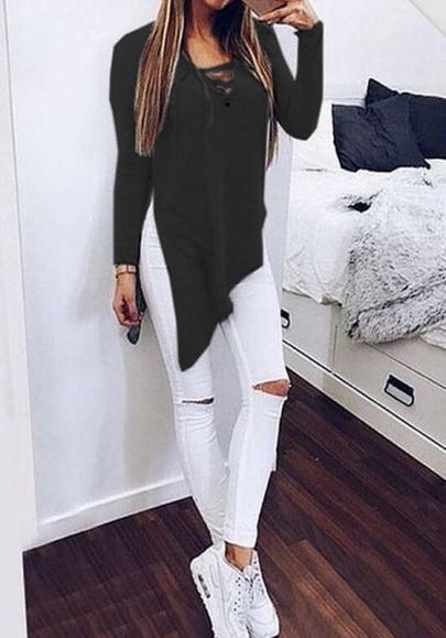 Black Plain Irregular Long Sleeve Streetwear Cotton T-Shirt