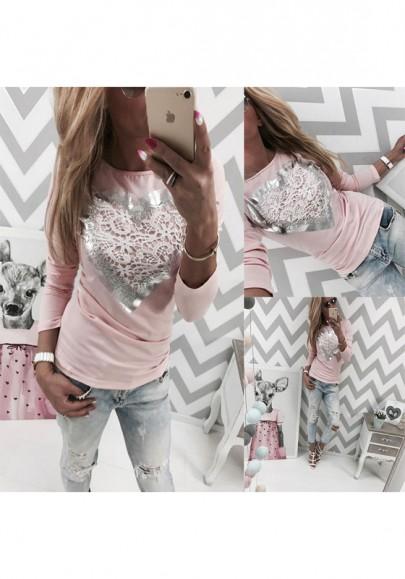 Rosa Liebe druck Rundhals Langarm Beiläufige T-Shirt Oberteile Mode Damen