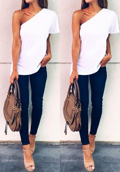 Camiseta llanura hombro asimétrico manga corta moda blanco