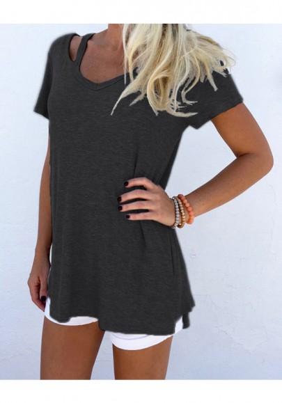 Schwarze Cut Out V-Ausschnitt Kurzarm Beiläufige T-Shirt Tops Oberteile Damen Mode