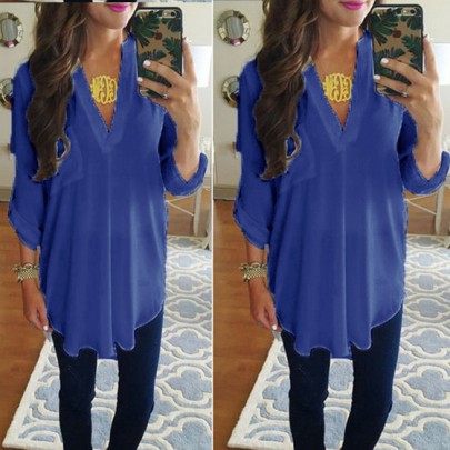 Blue Irregular Pockets Deep V 3/4 Sleeve T-Shirt