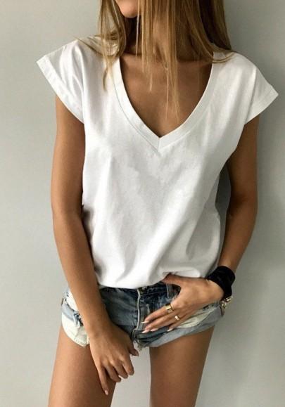 White Draped Comfy Deep V-neck Cap Sleeve Casual T-Shirt