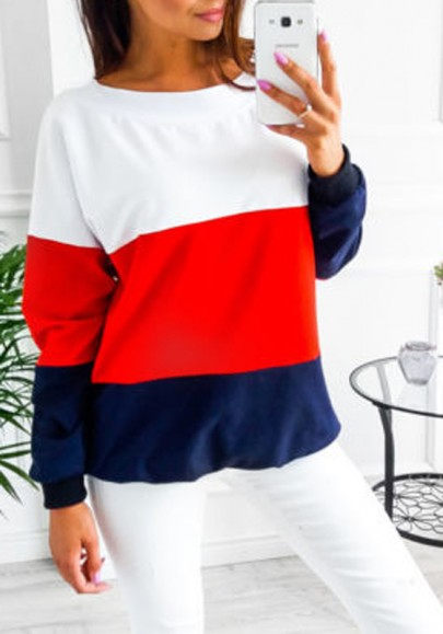 Red Color Block Tie Back Round Neck Long Sleeve Casual T-Shirt