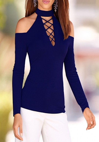 Blue Cut Out Off-shoulder Round Neck Long Sleeve Casual T-Shirt