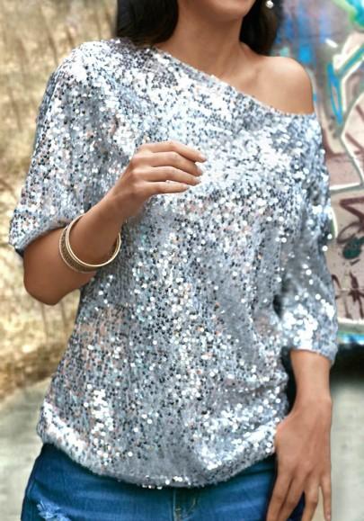 Silber Pailletten Glitzer One Shoulder Rundhals Halblanger Schöne T-Shirt Damen Mode Top