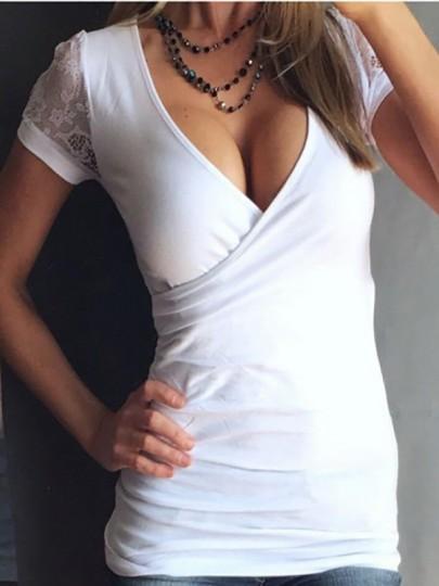 Weiß Flickwerk Spitze Tiefen V-Ausschnitt Kurzarm T-shirt Unterziehshirt Mode Oberteile Damen