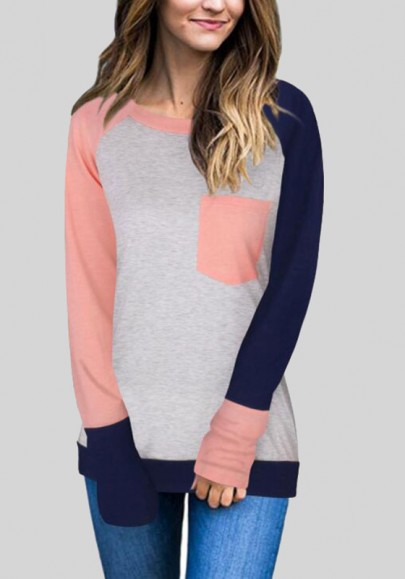 Pink Patchwork Pockets Casual Long Sleeve T-Shirt