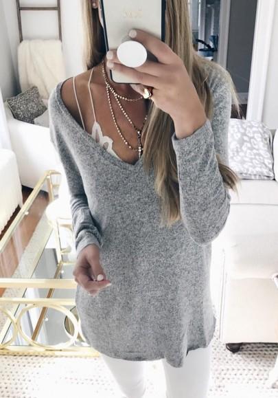 Pull en tricot maille épaule dénudée v-cou manches longues femme mode gris