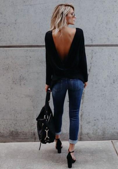 Tee shirt en maille asymétrique dos nu manches longues femme décontracté noir