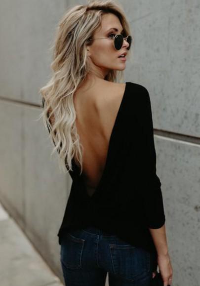 Tee shirt dos nu col ronde manches longues mode décontracté femme haut noir