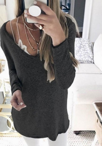 Black Plunging Neckline Long Sleeve Casual Cotton T-Shirt