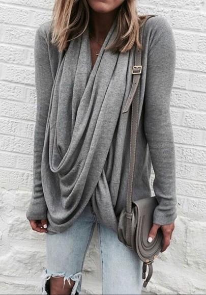 Grey Irregular Draped Lace-Up Collar Long Sleeve Fashion T-Shirt