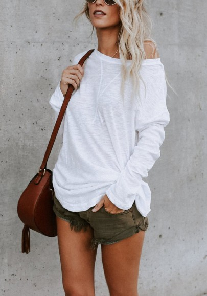 Weiße One Shoulder Schulterfreie Langarm Beiläufig Tops T-Shirt Oberteile Damen Mode
