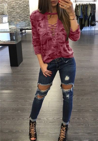 Wine Red Camouflage Print Drawstring Cross Lace-up V-neck Long Sleeve Casual T-Shirt