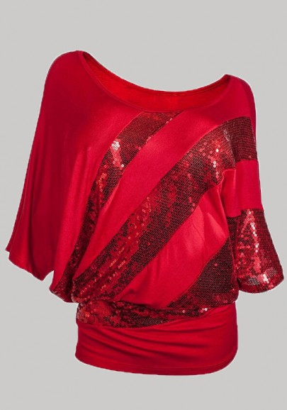 Red Patchwork Sequin Asymmetric Shoulder Christmas Short Sleeve T-Shirt