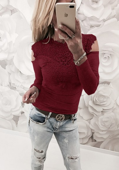 Wine red lace cut out round neck fashion t shirt t for Red wine out of white shirt
