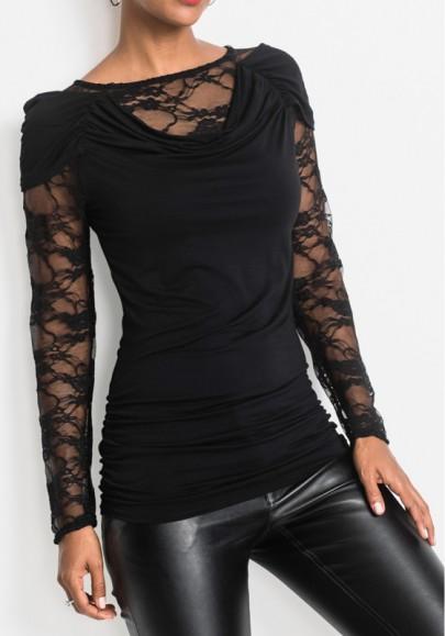 Camiseta encaje cuello redondo manga larga moda negro