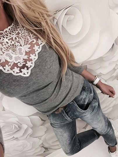 Grau Flickwerk Spitze Rundhals Langarm Mode T-shirt Damen Oberteile Top