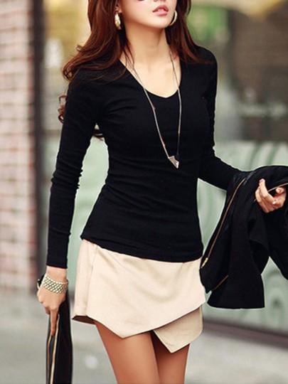 T-shirt col rond à sans manches longue occasionnel noir