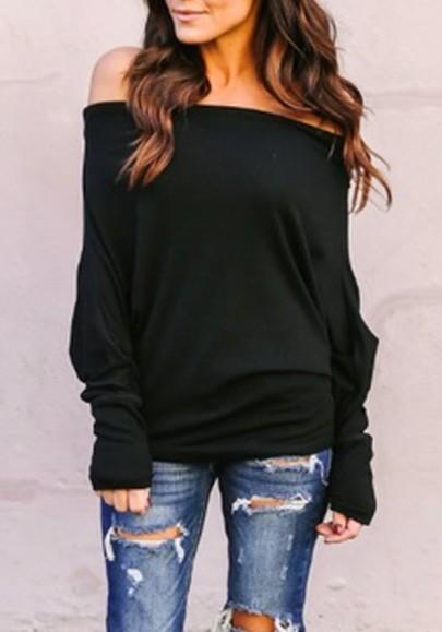 Schwarz Off Shoulder Schulterfrei Fledermausärmel Oversize Pullover Tops T-Shirt Oberteile Damen