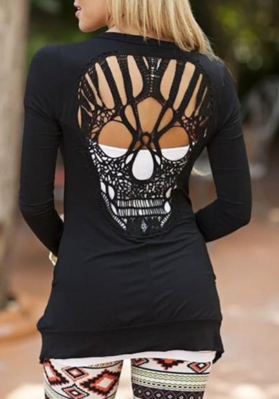 Camiseta corte de cráneo cuello redondo manga larga moda negro