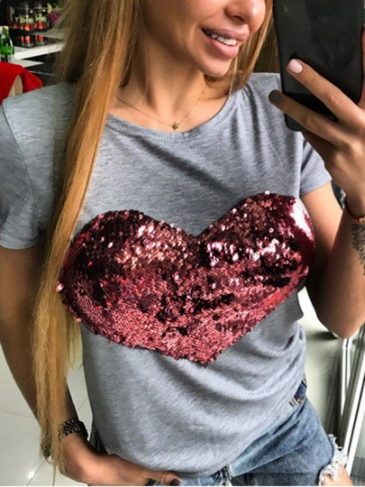 Grey Patchwork Sequin Valentine's Day Going out T-Shirt