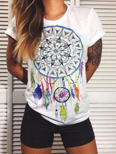 White Floral Print Round Neck Short Sleeve Going out Casual T-Shirt