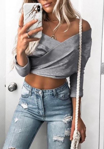 Grey Crop Cut Out Boat Neck Long Sleeve Fashion T-Shirt