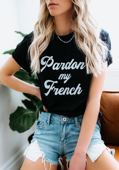 Black Monogram Print Round Neck Casual Going out T-Shirt