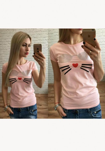 Pink Patchwork Print Round Neck Short Sleeve Casual T-Shirt